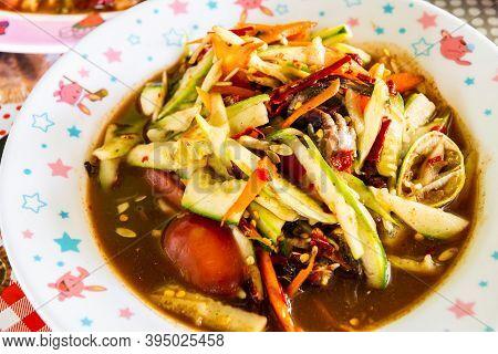 Close-up Of Cucumber Spicy Salad (som Tum) Thai Local Food