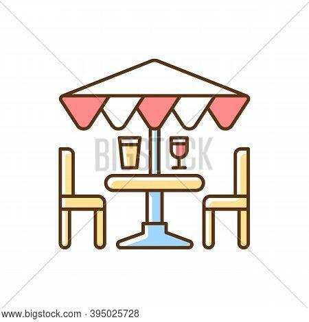 Patio Furniture And Accessories Rgb Color Icon. Outdoor Lounge Furniture. Patio Umbrellas. Comfortab