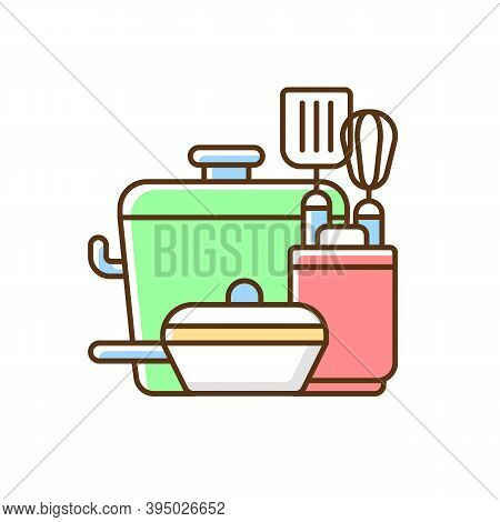 Kitchen Tools Rgb Color Icon. Cooking Supplies. Food Preparation Containers. Cookware And Bakeware.