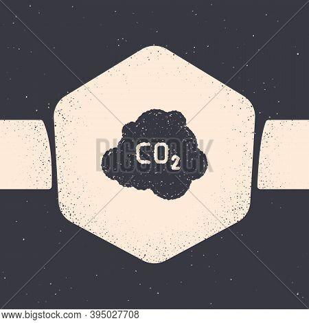 Grunge Co2 Emissions In Cloud Icon Isolated On Grey Background. Carbon Dioxide Formula, Smog Polluti