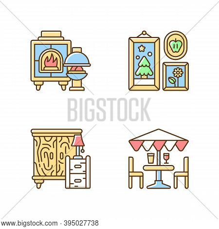 Home Decorations And Furniture Rgb Color Icons Set. Fireplaces. Photo Frames. Wooden Furniture. Pati
