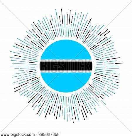 Botswana Sign. Country Flag With Colorful Rays. Radiant Sunburst With Botswana Flag. Vector Illustra