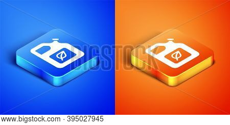 Isometric Bio Fuel Canister Icon Isolated On Blue And Orange Background. Eco Bio And Barrel. Green E