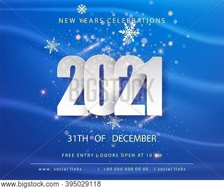 Happy New 2021 Year. Winter Holiday Blue Greeting Card Design Template. New Year Holiday Posters. Ha