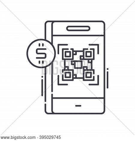 Cashless Management Icon, Linear Isolated Illustration, Thin Line Vector, Web Design Sign, Outline C