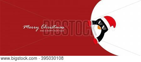 Cute Penguin With Sunglasses Looks Around The Corner Funny Christmas Design Vector Illustration Eps1