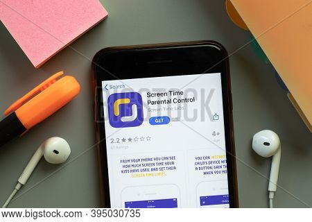 New York, United States - 7 November 2020: Screen Time Parental Control App Store Logo On Phone Scre