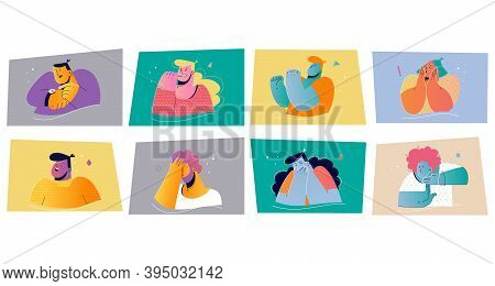 Emotion, Face Expression Set Concept. Positive And Negative Emotional People Vector Illustration For