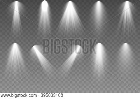 Vector Spotlight Set. Bright Light Beam. The Spotlight Shines On The Stage. Light Exclusive Use Lens