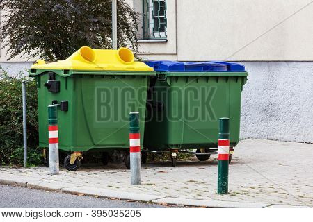 a garbage containers in the city