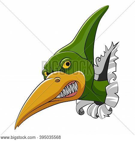 The Pteranodon Head Come Out From The Big Wall For The Storybook Dinosaur