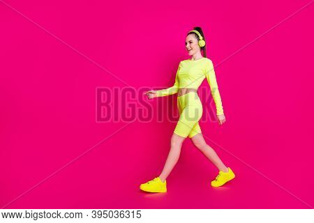 Full Length Body Size View Of Her She Nice Attractive Charming Slender Sporty Cheerful Girl Listenin