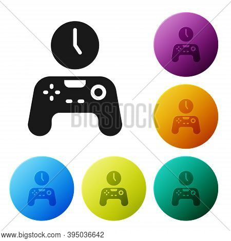 Black Gamepad Of Time Icon Isolated On White Background. Time To Play Games. Game Controller. Set Ic