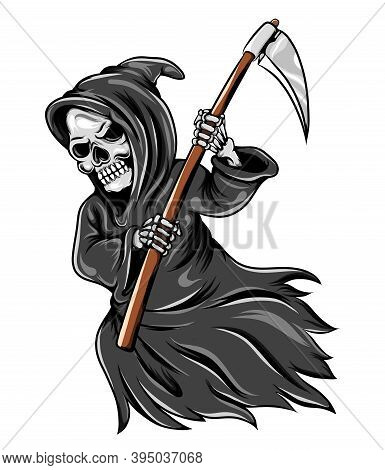 The Grim Reaper Flaying And Holding The Scythe And Using The Grey Cloak