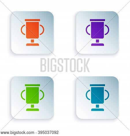 Color Award Cup With Bicycle Icon Isolated On White Background. Winner Trophy Symbol. Championship O