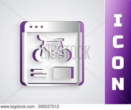 Paper Cut Bicycle Rental Mobile App Icon Isolated On Grey Background. Smart Service For Rent Bicycle