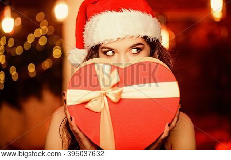 Secret Santa. Sensual Woman Red Present Box. I Love Christmas. Gift With Love. Surprise On Winter Ho