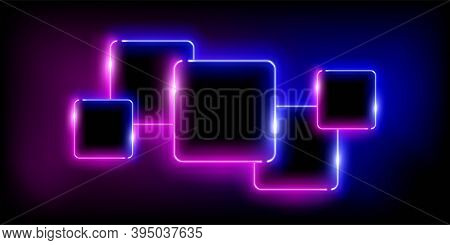 Glowing Neon Pink And Blue Squares Set Abstract Background. Lines With Electric Light Frames. Geomet
