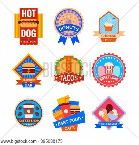 Cartoon Color Coffee Shop And Bistro Fastfood Label Badge Sign Set Concept Flat Design Style. Vector