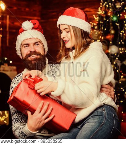 Happy New Year. Bearded Man And Woman. Christmas Time. Lovely Married Couple Cuddle Christmas Tree B