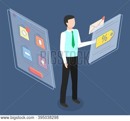 Mobile Shopping, Distance Purchases Vector Concept. Businessman Selecting A Purchase In A Mobile Pho