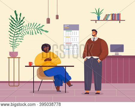 Business Meeting Colleagues Or Partners. Businessman Chief Sitting At A Desk In Office Interior List