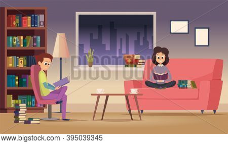 Reading Family. Woman Man Read Books In Living Room. Happy Students Study At Night. Test Preparation