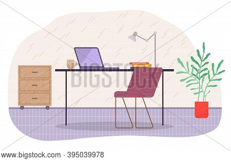 Furniture And Equipment For The Workplace Of An Employee Or Office Worker. Modern Chair And Office D