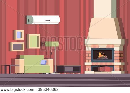 Fireplace In Interior. Relax With Sofa In Room Near Decorated Fireplace Vector Cartoon Background. I