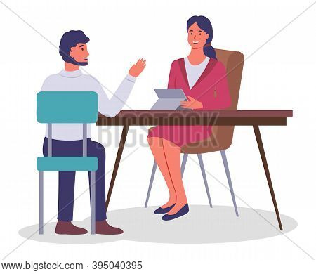 Businesspeople Colleagues Man And Woman Are Communicating In Office. Office Characters Are Discussin