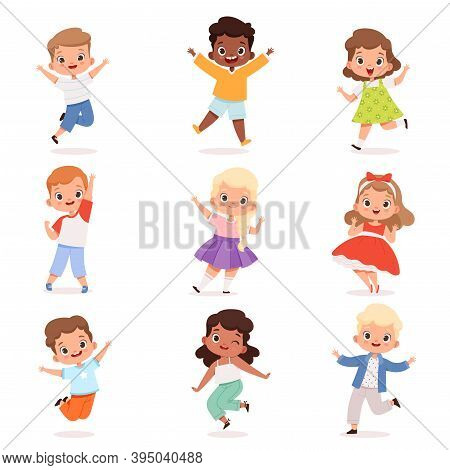 Happy Childrens. Cute Playing Kids In Action Poses Vector Boys And Girls. Illustration Childhood Cha