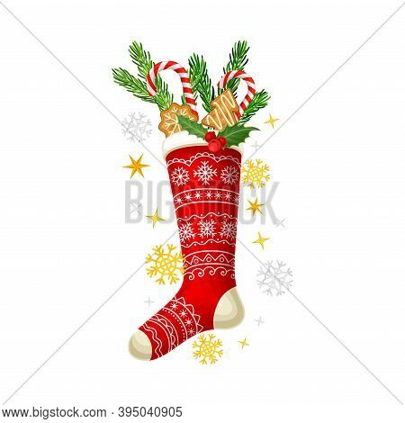 Red Ornamental Stocking With Fir Branch And Gingerbread Cookie As Christmas Vector Composition