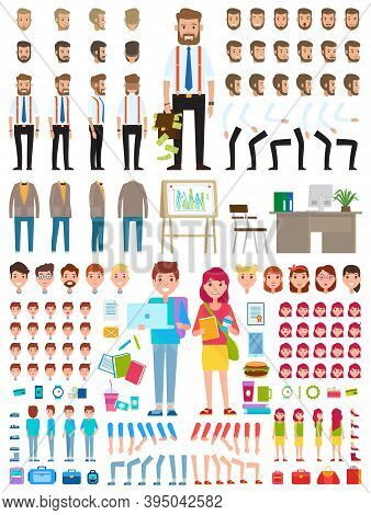 Create Character. Set Of Different Illustrations With Body Parts. Businessman And Teenagers Boy End