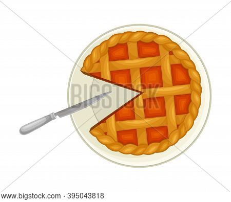 Festive Fruit Pie With Crust And Cutout Piece On Plate Above View Vector Illustration