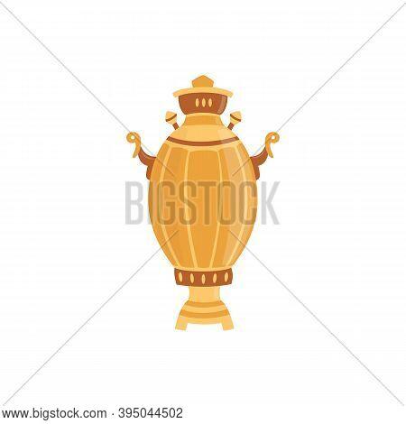 Big Russian Samovar Teapot Cartoon Icon, Flat Vector Illustration Isolated.