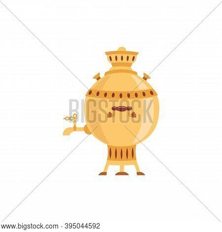 Vector Isolated Illustration Of Russian Brass Samovar For Making Hot Tea