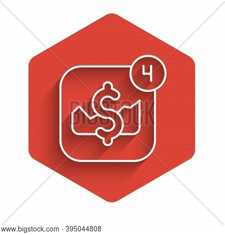 White Line Mobile Stock Trading Concept Icon Isolated With Long Shadow. Online Trading, Stock Market