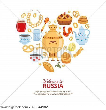 Symbols Russian Tea Party With Samovar And Pastries As Heart A Vector Illustration