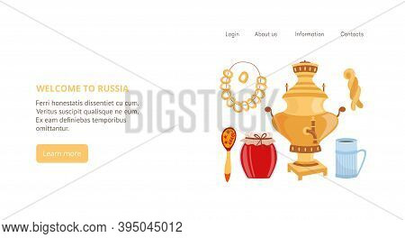 Russian Traditional Welcome Tea Party With Samovar A Vector Landing Page Template