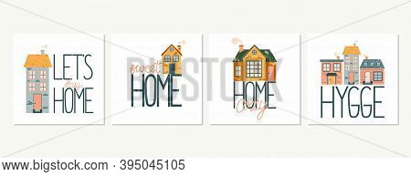Cartoon Cottage With Lettering. Hand Drawn Home Facade With Texture And Sweet Home Phrase Collection
