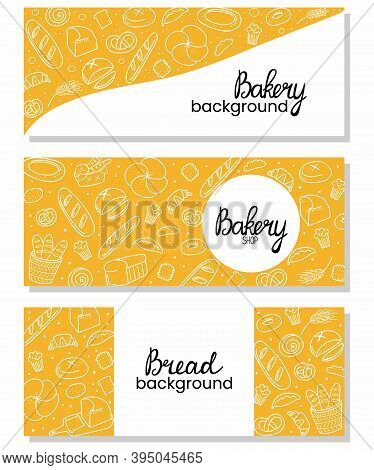 Bread Horizontal Background Set. Bakery Doodle Products, Baguette, Croissant And Bagel. Cartoon Dood