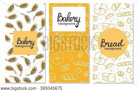 Bread Vertical Background Set. Bakery Doodle Products, Baguette, Croissant And Bagel. Cartoon Doodle