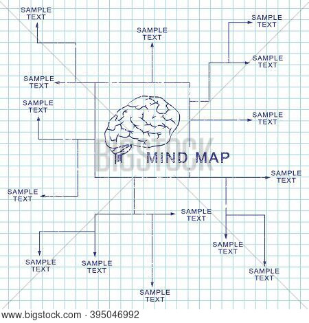 Mind Map Template Design. Vector Illustration Of A Ballpoint Pen Of The Brain On A Notebook Page.