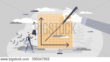 Progress Graphic With Improvement Growth And Success Rise Tiny Person Concept. Profit Development An