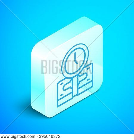 Isometric Line Time Is Money Icon Isolated On Blue Background. Money Is Time. Effective Time Managem