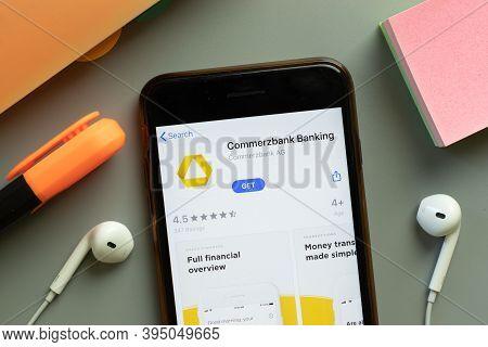 New York, United States - 7 November 2020: Commerzbank Banking App Store Logo On Phone Screen, Illus
