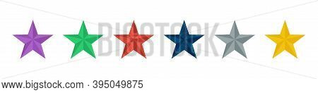 Colorful Star. Set Of 3d Stars Diferents Color On White Background. Vector Icon . Collection Of 6 Th