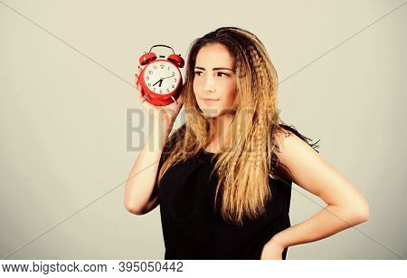 It Is Time. Few Minutes. Time Management. Punctuality And Discipline. Woman Hold Red Alarm Clock. Co