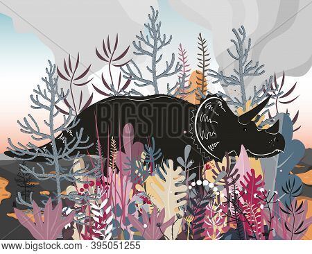 Triceratops Dinosaurs Walk Through A Forested Area With Volcano Landscape Background. Vector Illustr