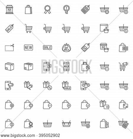 Shopping And Ecommerce Line Icons Set. Linear Style Symbols Collection, Outline Signs Pack. Online S
